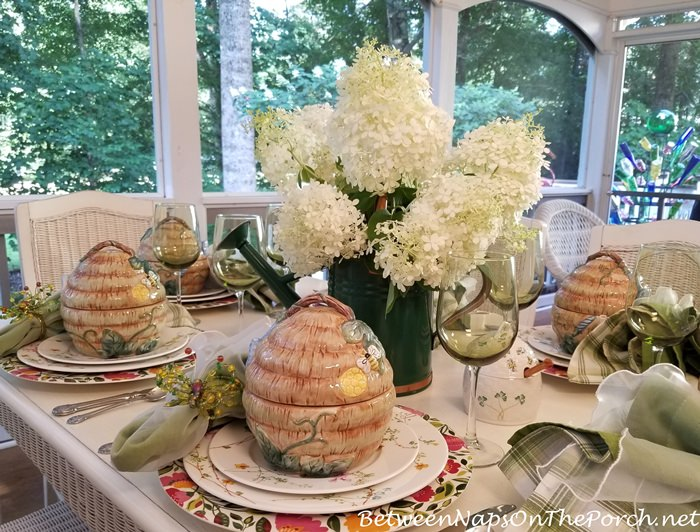Summer Table, Hydrangea Centerpiece, Bee Soup Tureens