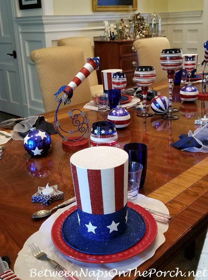 Uncle Same Hat Decor for a 4th of July Table
