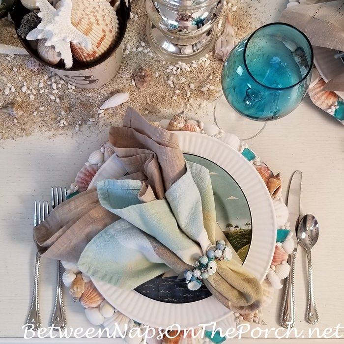 Aqua Blue Shells-Beads Napkin Rings