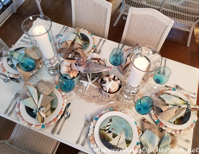 Create a fun beach-themed centerpiece for a summer table setting