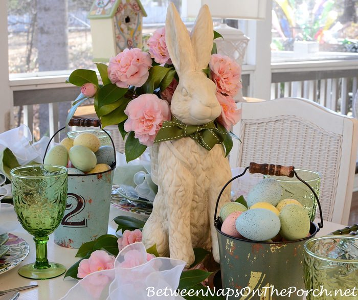 Easter Table Setting with Debutante Camellias in Bunny Vase-Planter