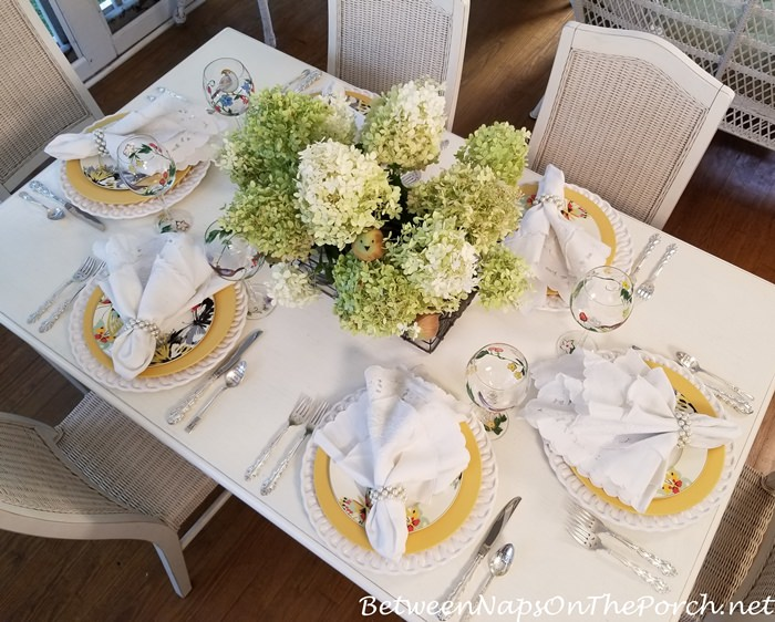 Limelight Hydrangeas in a Summer Table Setting