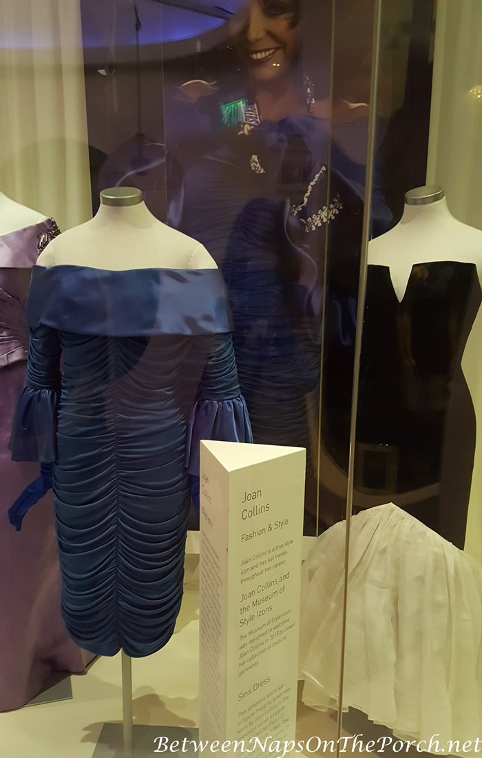 Sapphire Blue Dress worn by Joan Collin in 2012 in advertisement for Snickers