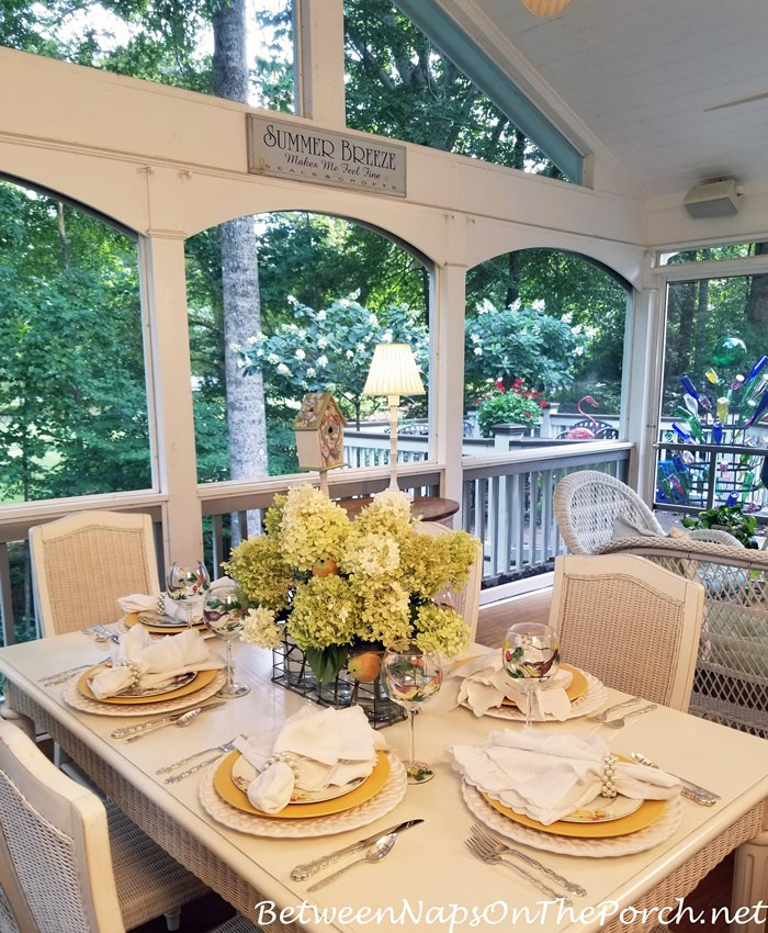 Screened Porch Spring Table Setting, Limelight Hydrangeas Centerpiece