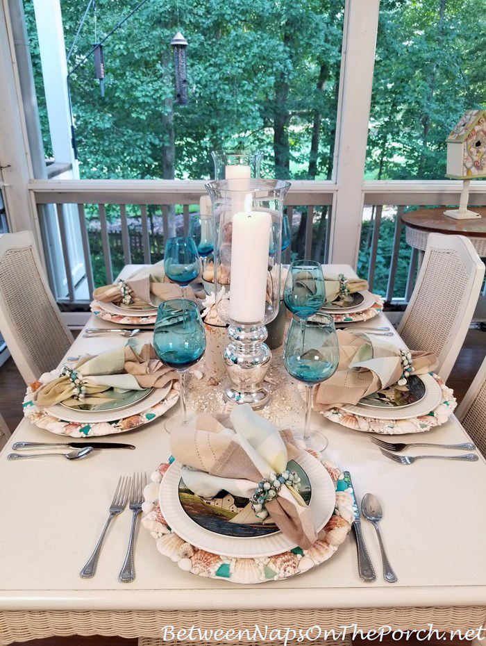 Table in Aqua Blue and Neutral Colors