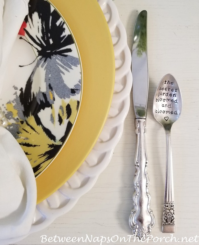 The Secret Garden Bloomed and Bloomed, Stamped Silverplate Spoon