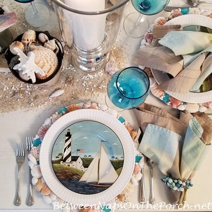 Warren Kimble Coastal Breeze Salad Plates in a Beach Tablescape
