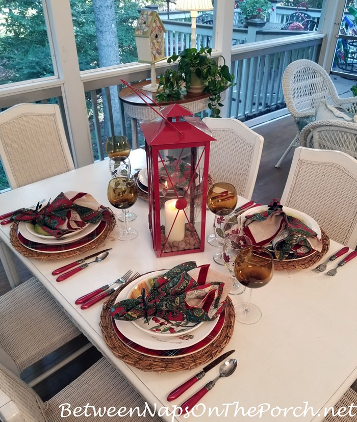 Autumn Table Setting, Red Lantern Centerpiece