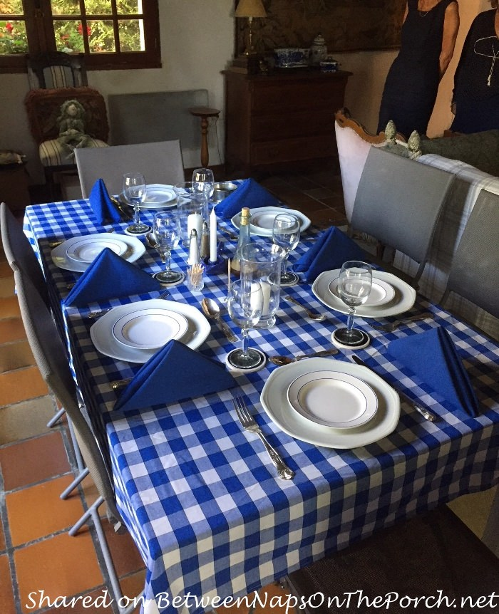 Blue and White Table for a Greek-Themed Dinner Party