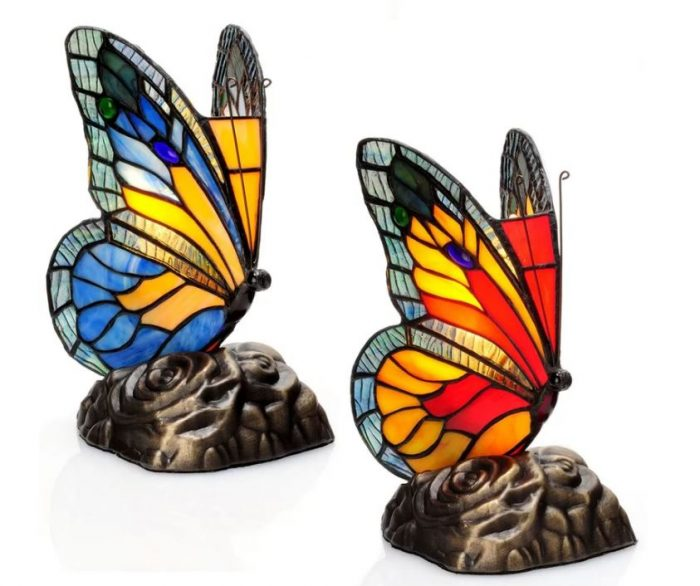 Butterfly Stained Glass Tiffany Style Lamp