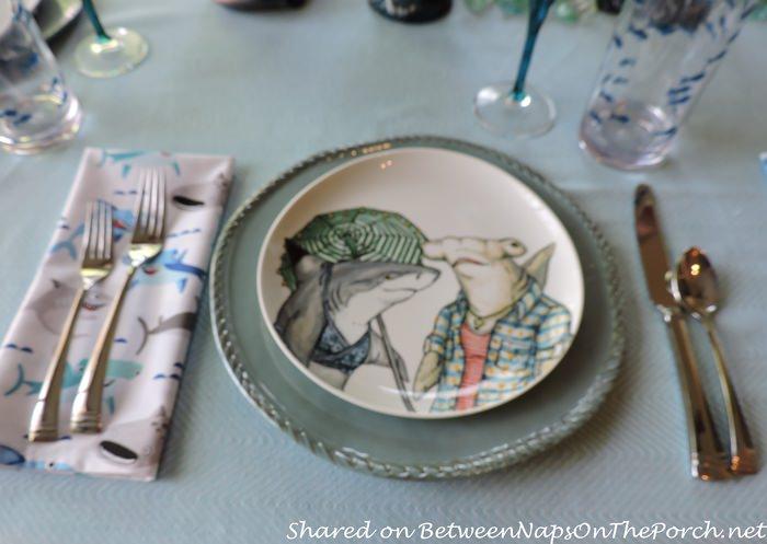Children's Shark-Themed Birthday Table Setting