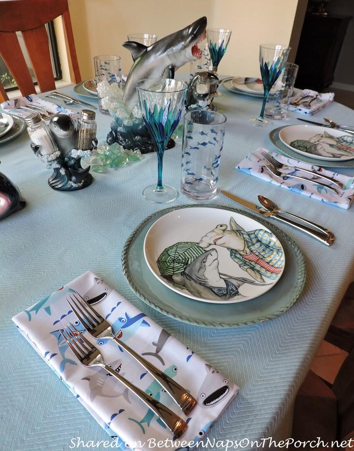 Children's Shark-Themed Table Setting