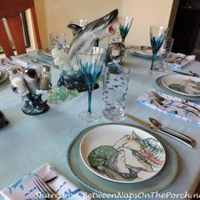 Child's Shark-Themed Table Setting