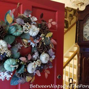 Decorate Door for Fall with Pumpkin Wreath