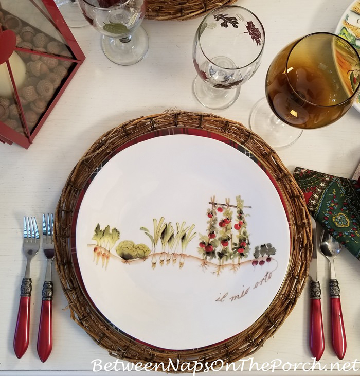 Dinner Plate, Vegetable Garden Scene in Italy