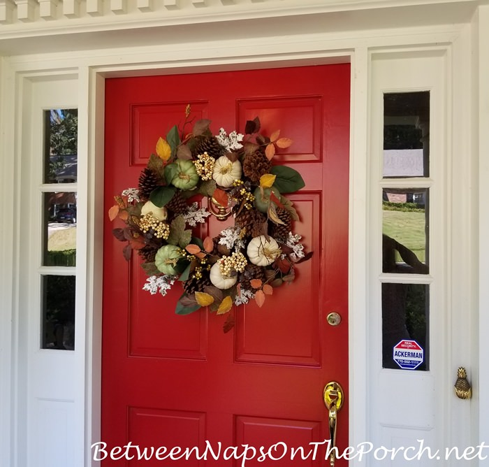 Fall Wreath with Green & White Pumpkins, Autumn Colors