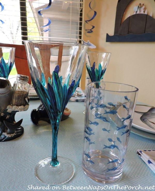 Fish Glassware in Children's Shark-Themed Birthday Table