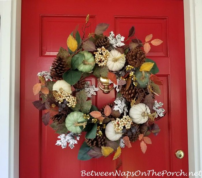 Green, White Pumpkins, Fall Autumn Wreath