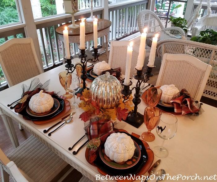 Halloween Table with Pumpkin Tureens