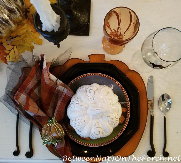Halloween Tablescape, Pumpkin Chargers & Pumpkin Soup Tureens