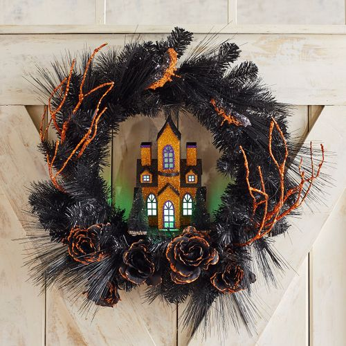 Halloween Wreath with Haunted House
