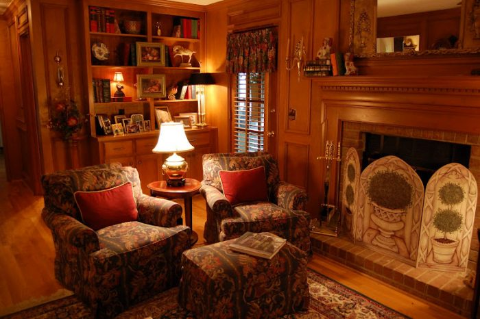 Living Room with Judges Paneling and Built in Cabinetry