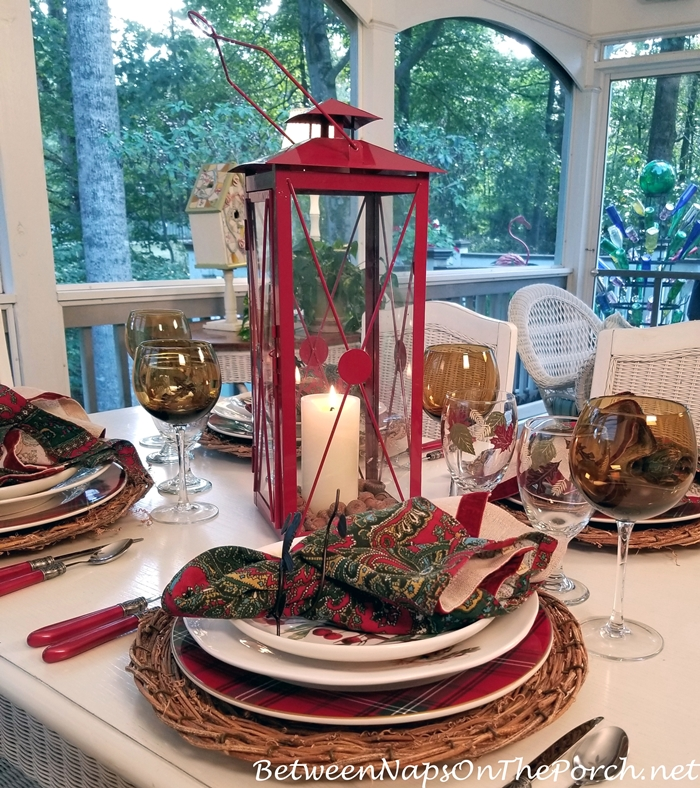 Red Lantern Centerpiece for an Autumn Tablescape
