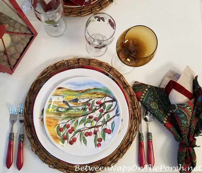 Salad Plate Depicting Olive Trees & an Italian Villa