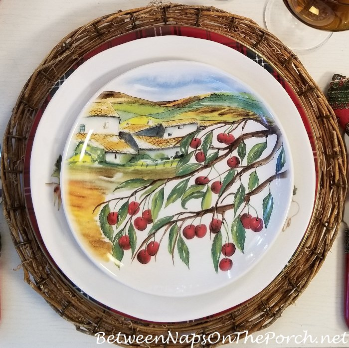 Salad Plate with Italian Villa and Olive Trees