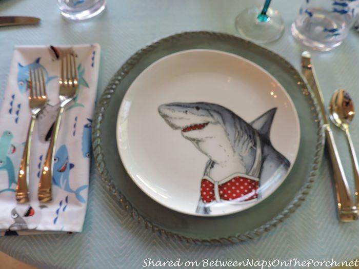 Shark Plate for Children's Shark-Themed Birthday Table