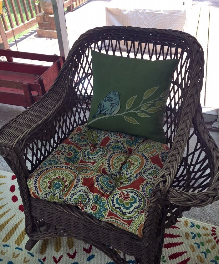 Vintage Wicker Chair with Book, Magazine or Throw Holder