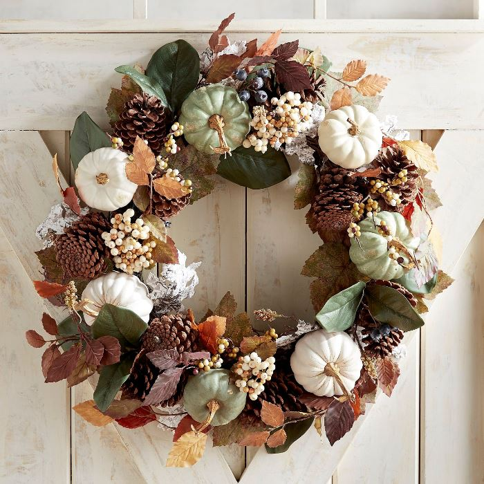 White, Green Pumpkin Wreath for an Autumn Fall Door