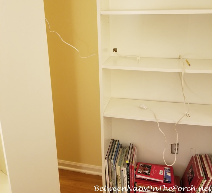Wiring Ikea bookcase for Dept. 56 Literary Classics Lit Houses