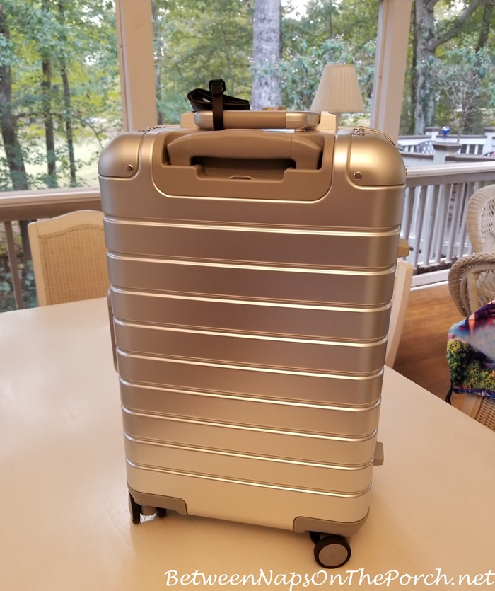 Back of Aluminum Away Carry on Bag