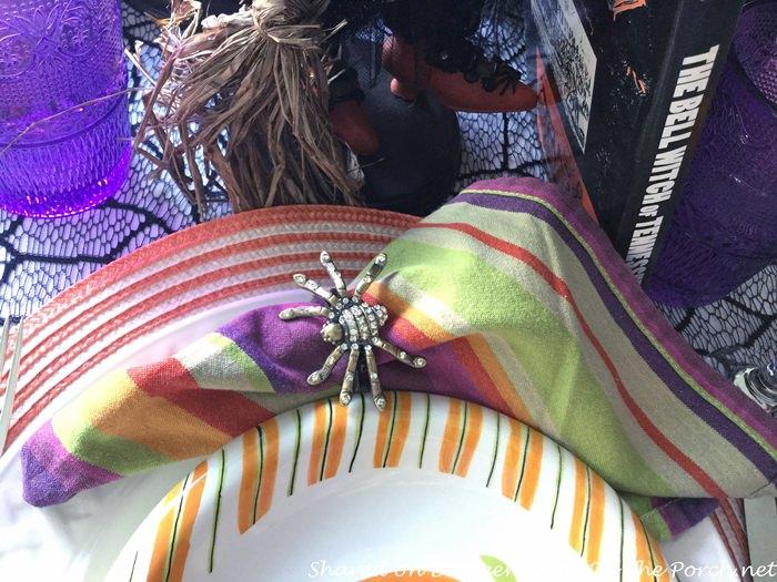 Blingy Spider Napkin Rings, Halloween