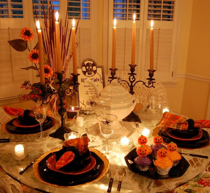 Halloween Table, Spider Web Tablecloth