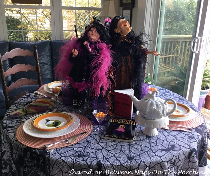 Halloween Tablescape with Fun Witch Centerpiece