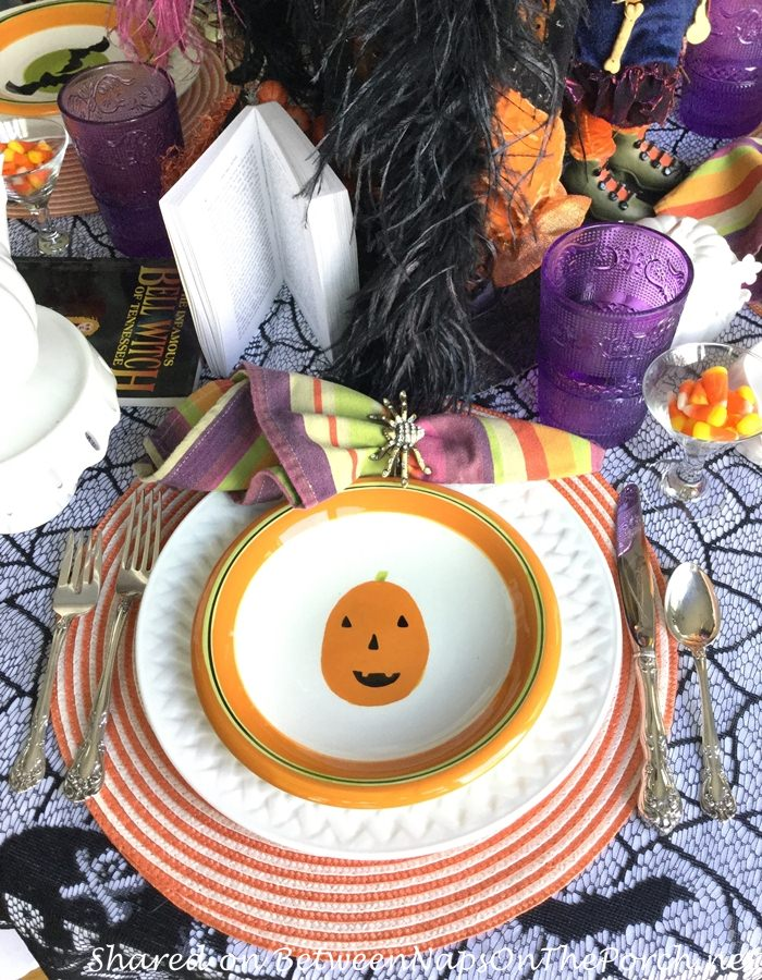 Halloween Tablescape with Pumpkin Plates