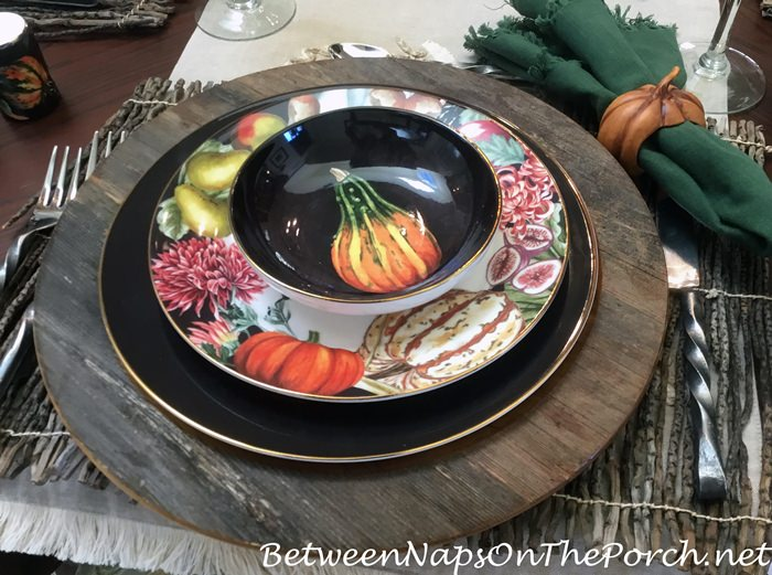 Rustic Wood Chargers with Harvest Pumpkin China for Thanksgiving