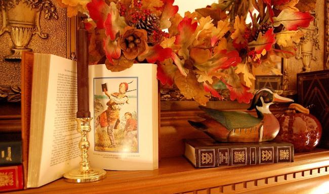 Autumn Mantel, Mallard Duck, Books, Pumpkins