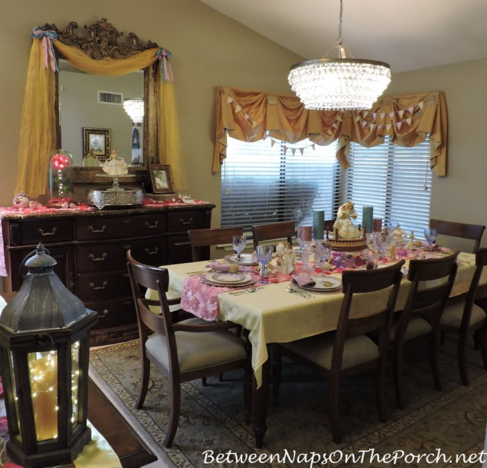 Beauty The Beast Birthday Table Featuring Beauty The Beast Collectibles Between Naps On The Porch