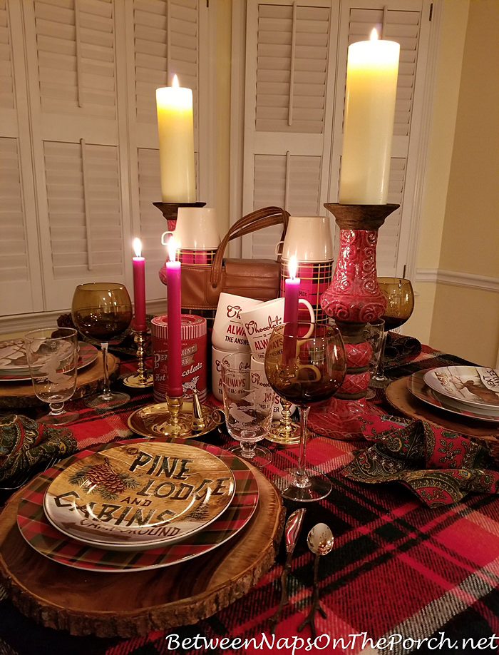 Candlelight Woodland Plaid Table for Autumn