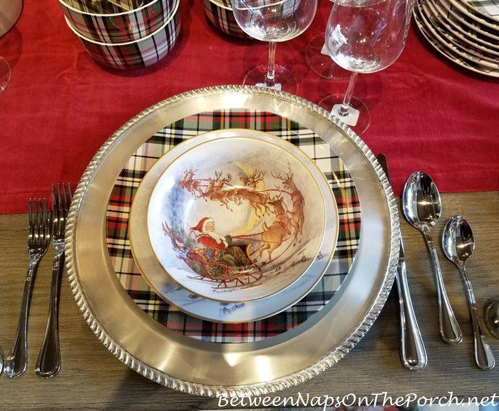 Christmas Place Setting with Tartan Plates