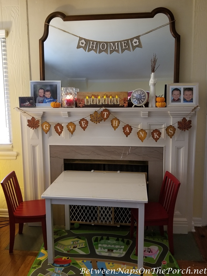 Decorate mantel for Autumn