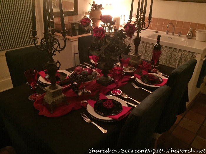Halloween Table Setting in Red, Black and White