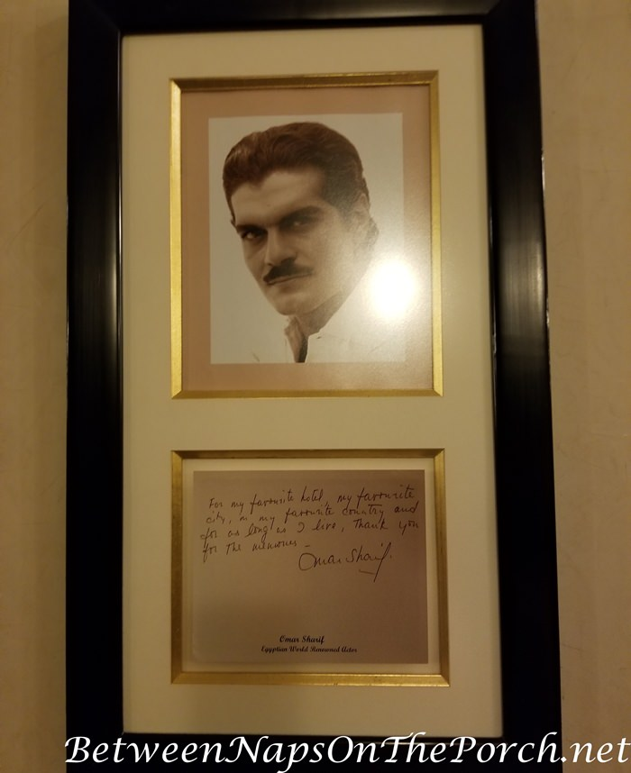 Omar Sharif visits the Old Cataract Hotel, Egypt