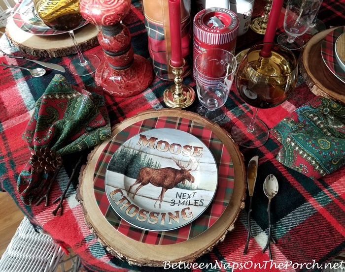 Plaid Autumn Table, Moose Plates