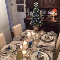 A Christmas Table in White and Silver