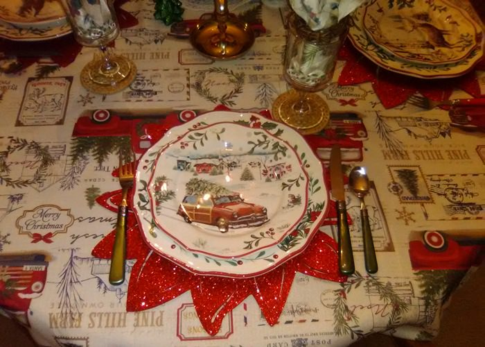Better Homes and Gardens Christmas China with Woody Car Bringing Home the Tree