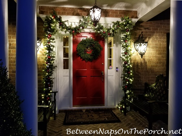 Christmas Porch, Lit Garland and Natural Christmas Wreath